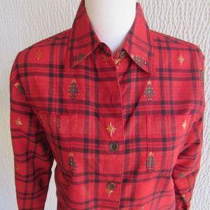Dress Barn Christmas Shirt Small Red Gold Metallic